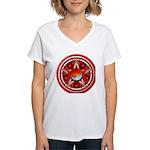Red Triple Goddess Pentacle Women's V-Neck T-Shirt