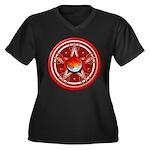Red Triple Goddess Pentacle Women's Plus Size V-Ne