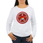 Red Triple Goddess Pentacle Women's Long Sleeve T-