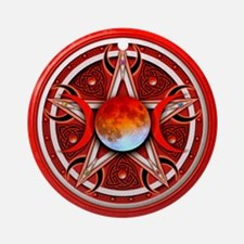 Red Triple Goddess Pentacle Ornament (Round)