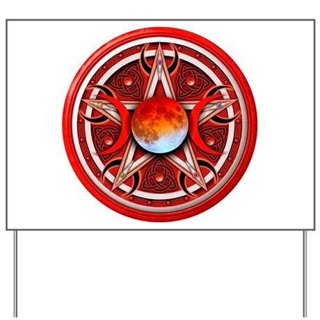 Red Triple Goddess Pentacle Yard Sign