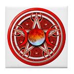 Red Triple Goddess Pentacle Tile Coaster