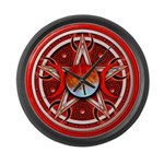 Red Triple Goddess Pentacle Large Wall Clock