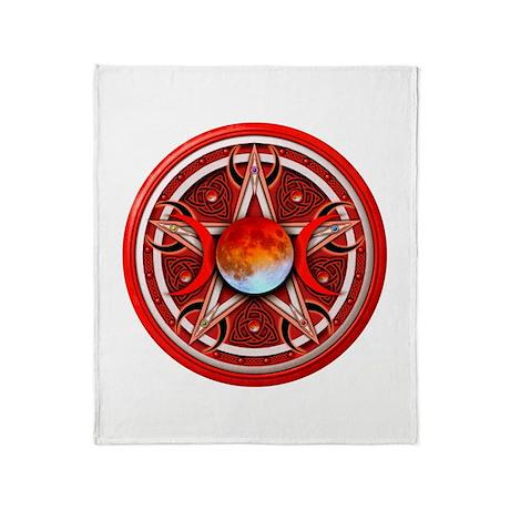 Red Triple Goddess Pentacle Throw Blanket