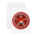 Red Triple Goddess Pentacle Greeting Cards (Pk of