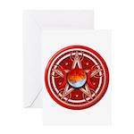 Red Triple Goddess Pentacle Greeting Card