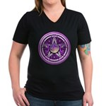 Purple Triple Goddess Pentacle Women's V-Neck Dark