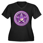 Purple Triple Goddess Pentacle Women's Plus Size V