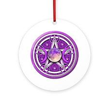 Purple Triple Goddess Pentacle Ornament (Round)