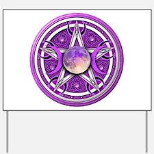 Purple Triple Goddess Pentacle Yard Sign