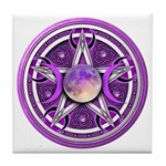 Purple Triple Goddess Pentacle Tile Coaster