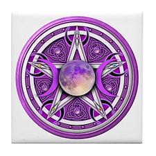 Purple Triple Goddess Pentacle Tile Coaster