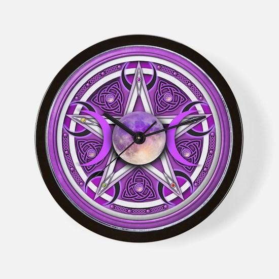 Purple Triple Goddess Pentacle Wall Clock