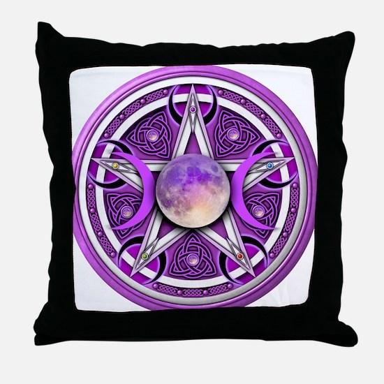 Purple Triple Goddess Pentacle Throw Pillow