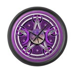 Purple Triple Goddess Pentacle Large Wall Clock