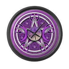 Purple Triple Goddess Pentacle Large Wall Clock
