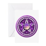 Purple Triple Goddess Pentacle Greeting Cards (Pk