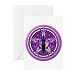 Pentacle of the Purple Goddess Greeting Cards (Pk