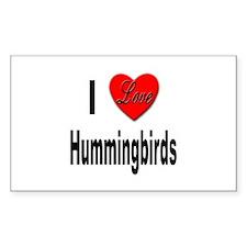 I Love Hummingbirds Rectangle Decal
