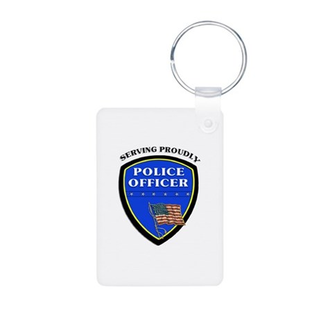 Police Serving Proudly Aluminum Photo Keychain