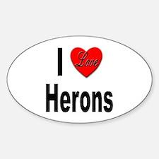 I Love Herons Oval Decal