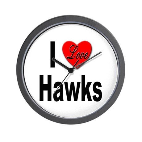 I Love Hawks Wall Clock