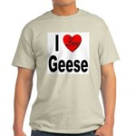 I Love Geese (Front) Ash Grey T-Shirt