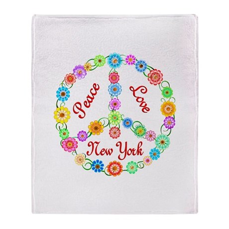 Peace Love New York Throw Blanket