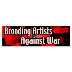 Brooding artists against war sticker