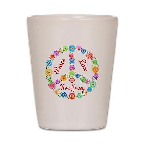 Peace Love New Jersey Shot Glass