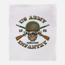 US Army Infantry Skull Throw Blanket