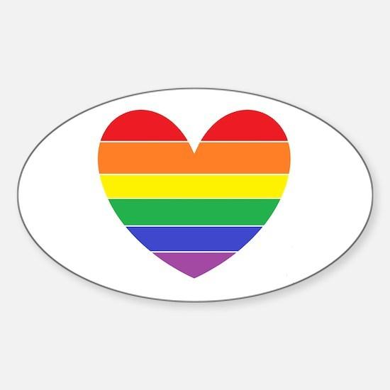 Rainbow Heart Sticker (Oval)