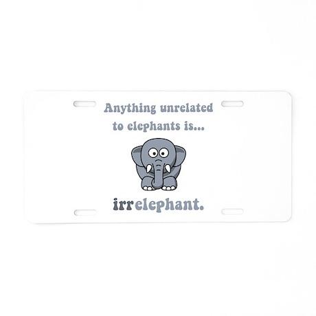 Irrelephant Aluminum License Plate