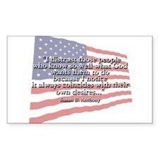 Susan B. Anthony: God And Desires Quote Decal