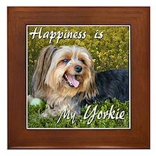 Happy Yorkie Framed Tile