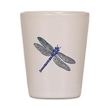 Blue Dragonfly Shot Glass