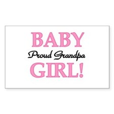 Baby Girl Proud Grandpa Rectangle Decal