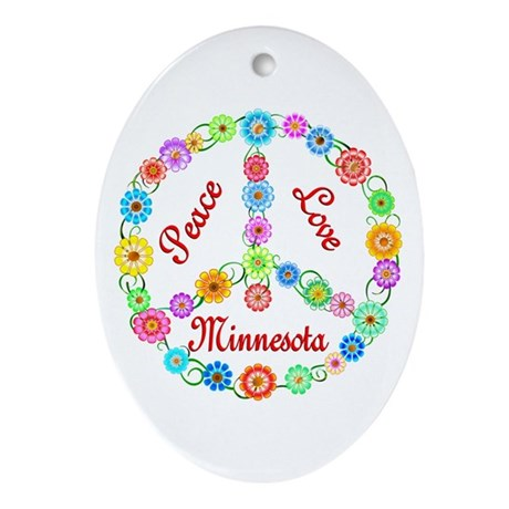 Peace Love Minnesota Ornament (Oval)