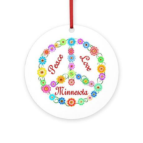 Peace Love Minnesota Ornament (Round)