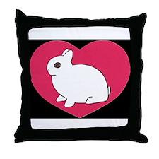 I Love My Dwarf Hotot Dark Throw Pillow