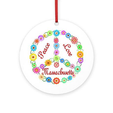 Peace Love Massachusetts Ornament (Round)
