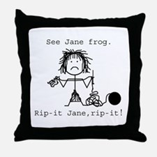 SEE JANE FROG: Throw Pillow