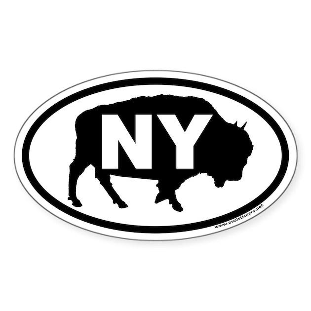 Buffalo NY Euro Oval Sticker With Buffalo Graphic By
