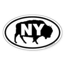 Buffalo NY Euro Oval Sticker with Buffalo Graphic