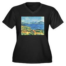 Artzsake Women's Plus Size V-Neck Dark T-Shirt