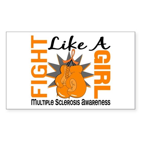 Fight Like A Girl Multiple Sclerosis Sticker (Rect