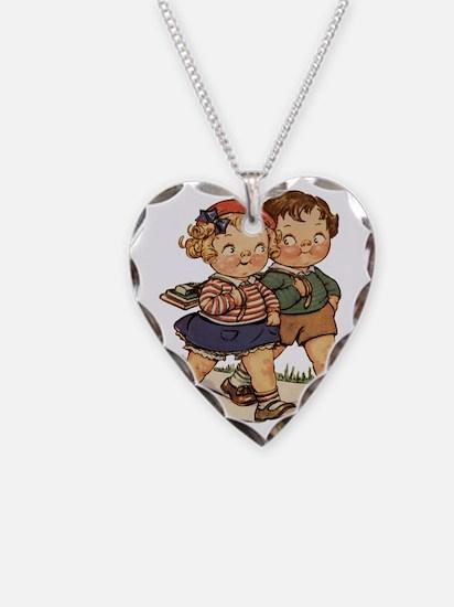 Kids Walking Necklace Heart Charm
