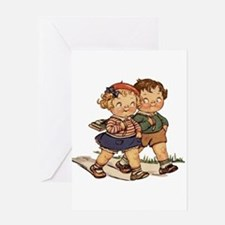Kids Walking Greeting Card