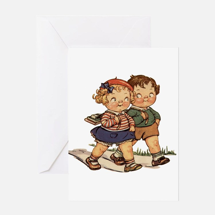Kids Walking Greeting Card