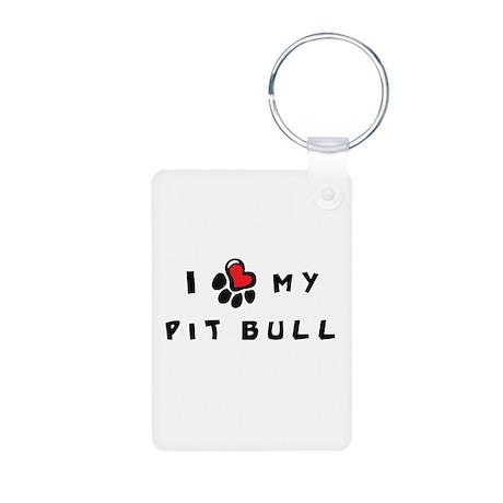 I *heart* My Pit Bull Aluminum Photo Keychain